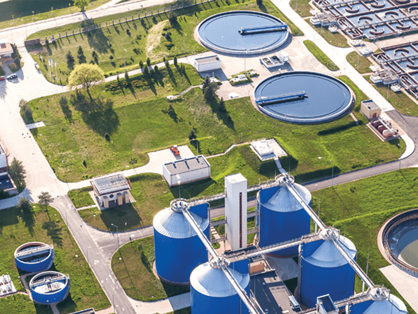 Water treatment plant aerial view