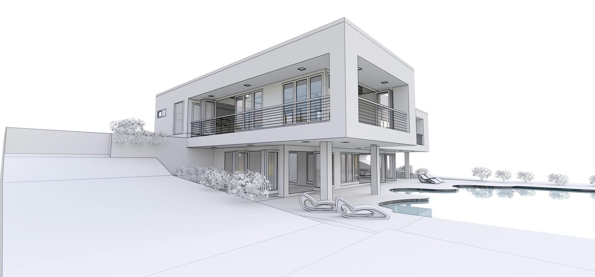 3d modern house, on white background. 3d illustration
