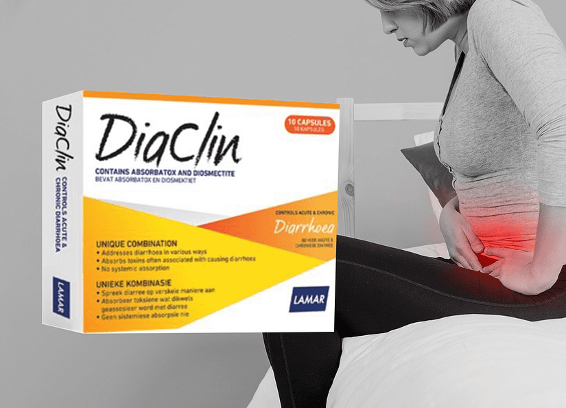 Woman with stomach pain Diaclin