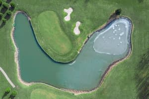 Top view of golf course decorative pond